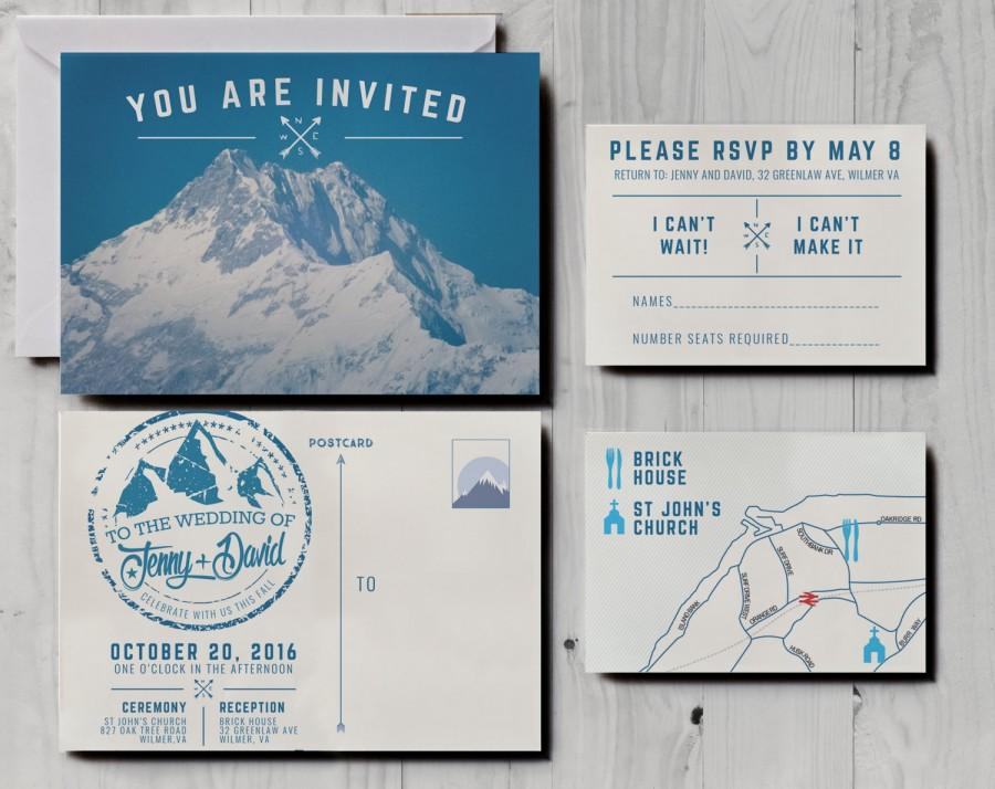 Retro Snowy Mountain Wedding Invitations Skiing Wedding Invitations