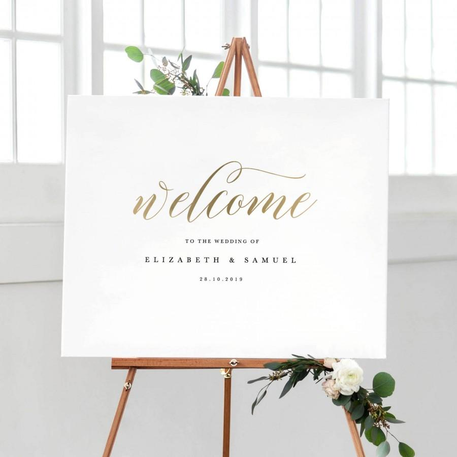 Mariage - Welcome To Our Wedding Sign Template, Printable Welcome Sign, Wedding Welcome Sign, Welcome Sign Instant Download, Welcome Signs - KPC03_303