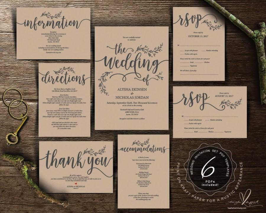 Свадьба - We do Wedding Invitation cards suite, Instant download PDF editable template, Kraft rustic calligraphy design theme Wedding Set (TED418_1)