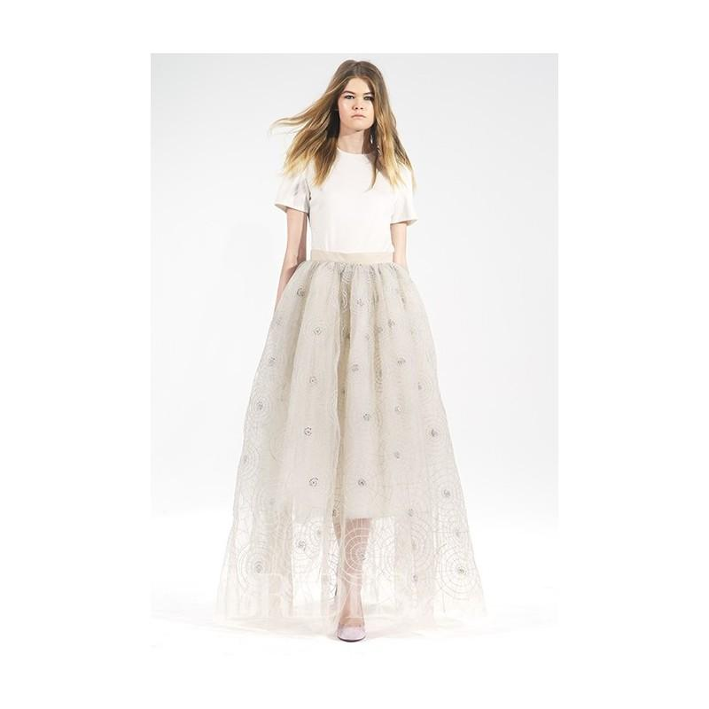 Wedding - Houghton - Fall 2015 - ilk Short-Sleeve T-shirt with an A-line Champagne tulle Skirt Embroidered with Metallic Threads - Stunning Cheap Wedding Dresses