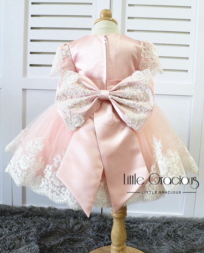 Wedding - baby pink Toddler Easter Dress in Lace, Baby Girl Dress, Infant Pageant Dress LG013