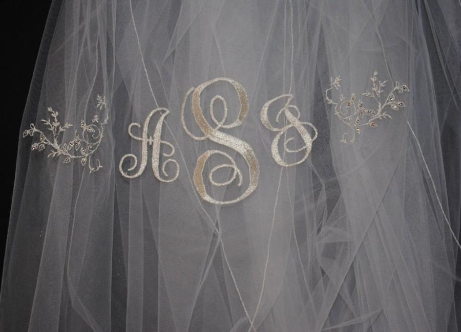 زفاف - Swarovski Crystal monogrammed veil