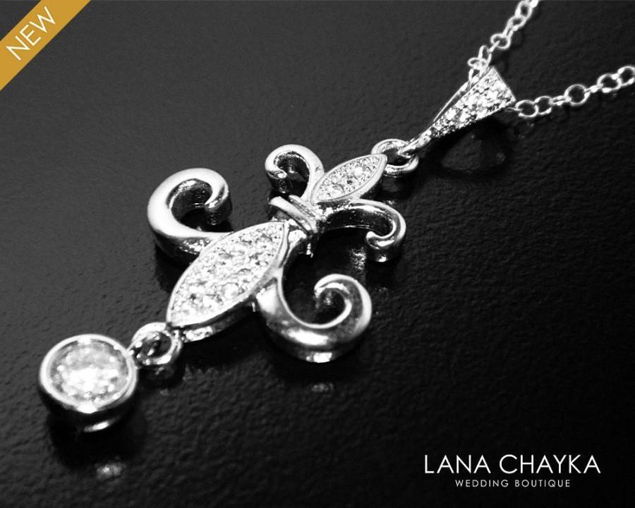Wedding - Fleur-De-Lis Necklace, Fleur De Lis French Pendant, Silver Fleur-De-Lis Wedding Necklace, Fleu De Lis Jewelry, French Lily Bridal Necklace - $29.00 USD