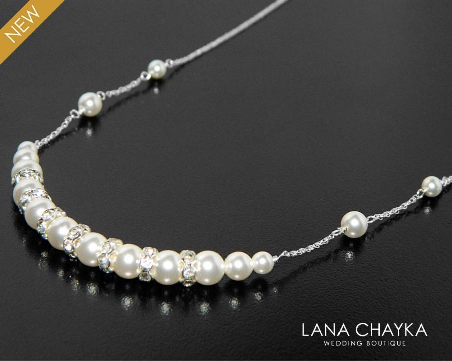 Wedding - White Pearl Bridal Necklace, Swarovski Pearl Sterling Silver Necklace, Wedding Pearl Necklace, Dainty Pearl Necklace, Bridal Pearl Jewelry - $25.00 USD