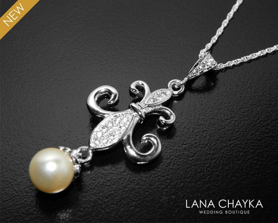 Hochzeit - Fleur-De-Lis Necklace, Fleur De Lis Pendant with Swarovski Ivory Pearl, Silver Fleur-De-Lis Wedding Necklace, Fleu De Lis Jewelry - $30.50 USD