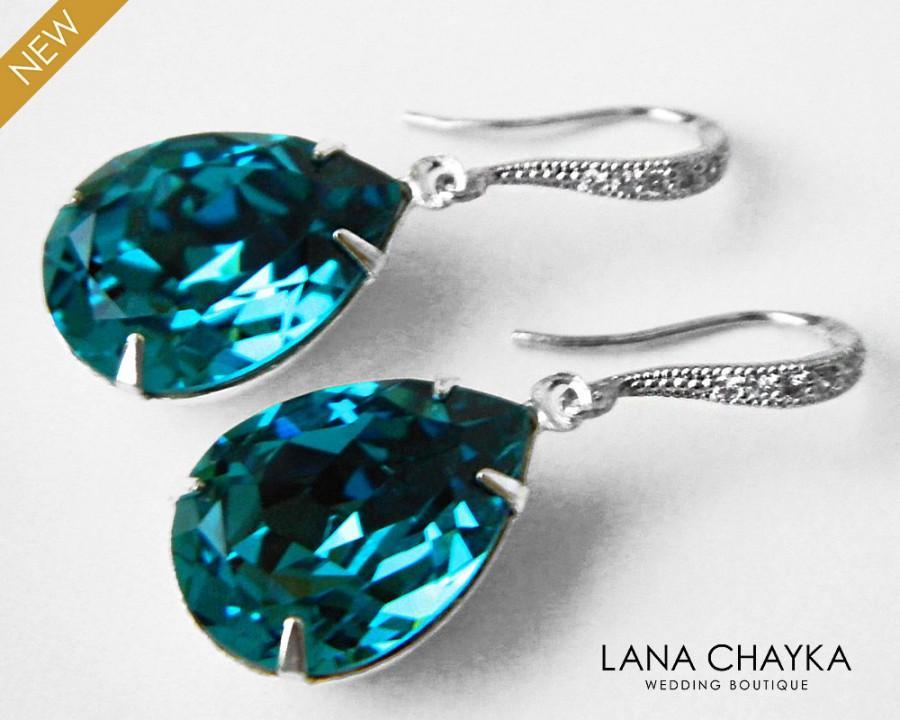 Wedding - Indicolite Teal Crystal Earrings Wedding Dark Teal Rhinestone Earrings Swarovski Indicolite Teardrop Silver Dangle Earrings Bridal Jewelry - $29.50 USD