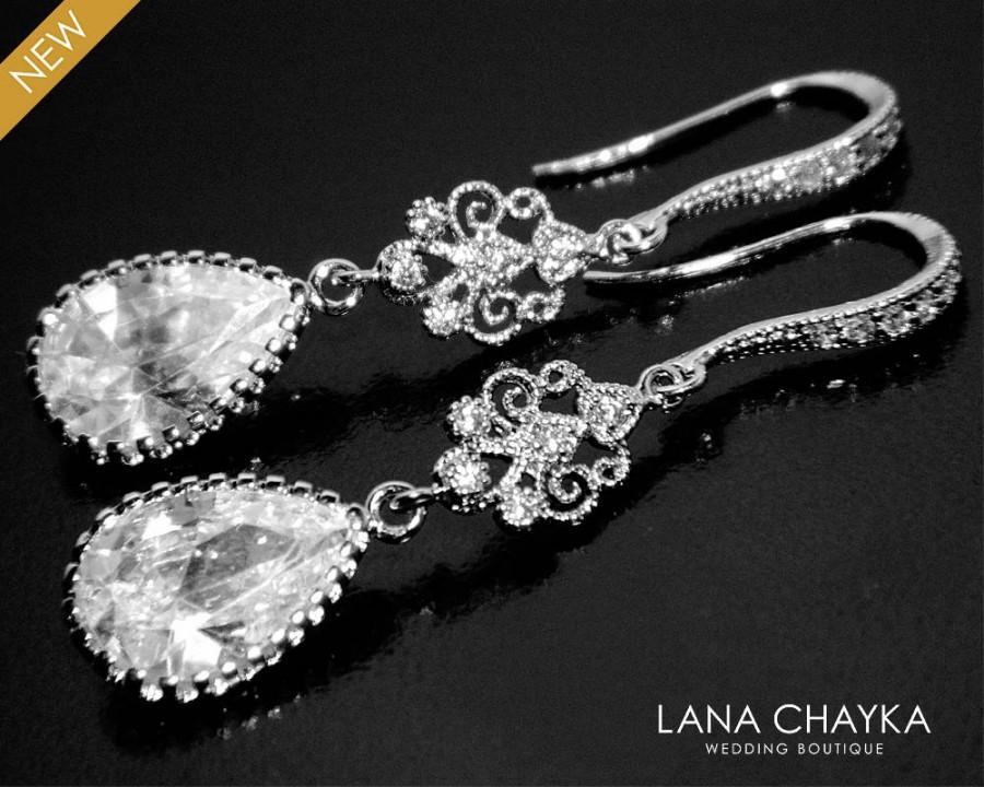 Cubic Zirconia Chandelier Earrings Crystal Bridal Cz Teardrop Dangle Jewelry Bridesmaids Prom Earring 31 00 Usd