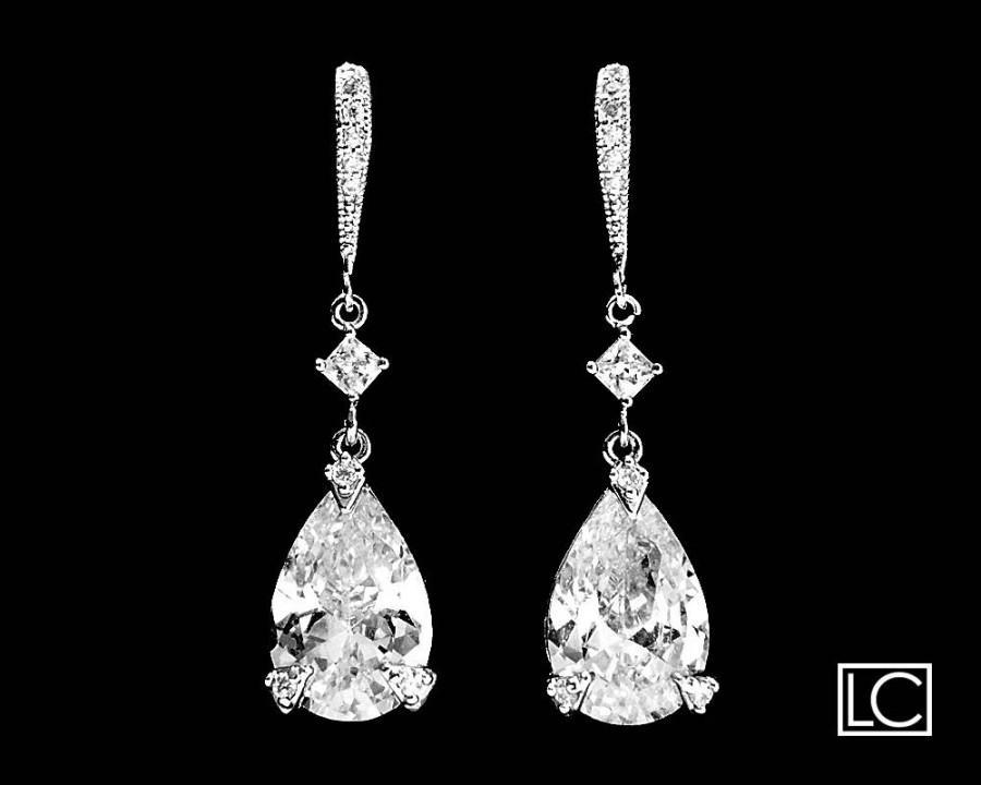 Cubic Zirconia Chandelier Earrings Crystal Bridal Cz Teardrop Dangle Jewelry Vintage Style Prom Earring 34 50 Usd