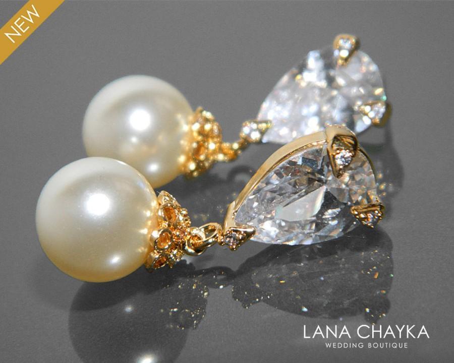 Wedding - Bridal Ivory Pearl Cubic Zirconia Gold Earrings Swarovski 10mm Pearl Drop Earrings Wedding Pearl Earrings Ivory Pearl Jewelry Prom Jewelry - $32.00 USD