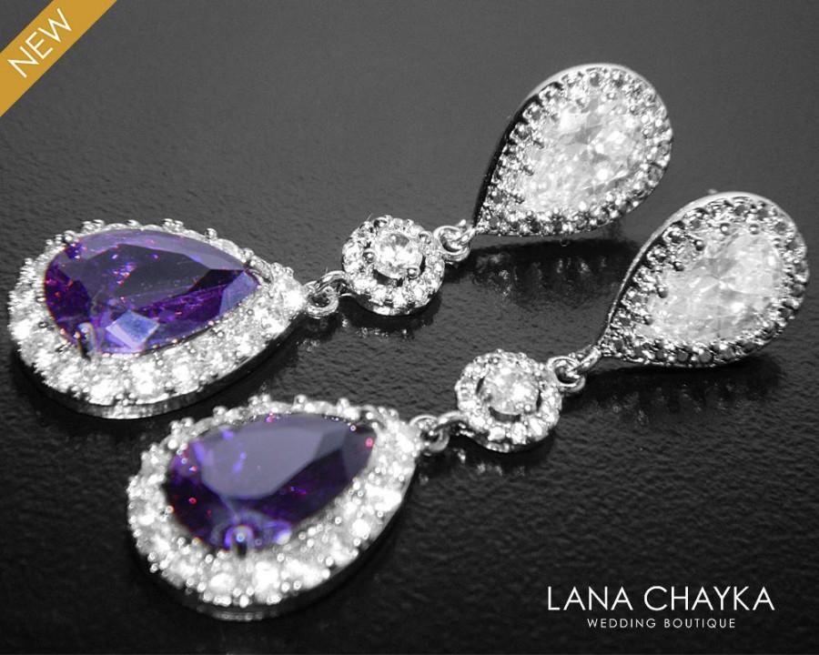 Mariage - Amethyst Crystal Earrings Bridal Purple Chandelier Earrings Amethyst Teardrop Earrings Purple Halo Wedding Earrings Purple Crystal Earrings - $37.50 USD