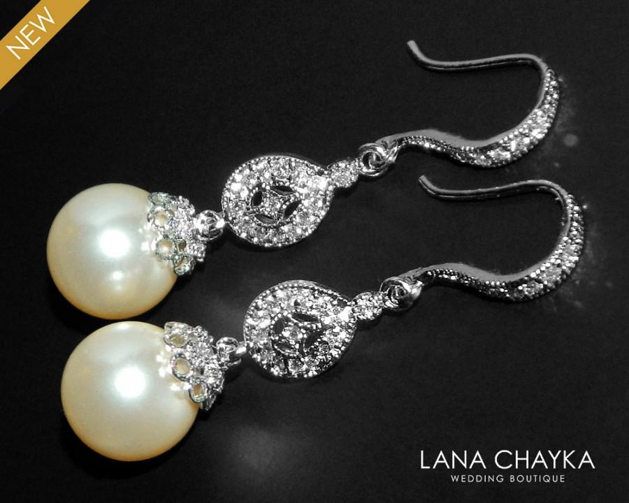 Bridal Chandelier Pearl Earrings Swarovski 10mm Ivory Wedding Cz 35 00 Usd