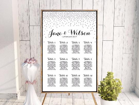 vertical silver glitter find your seat chart free wedding seating