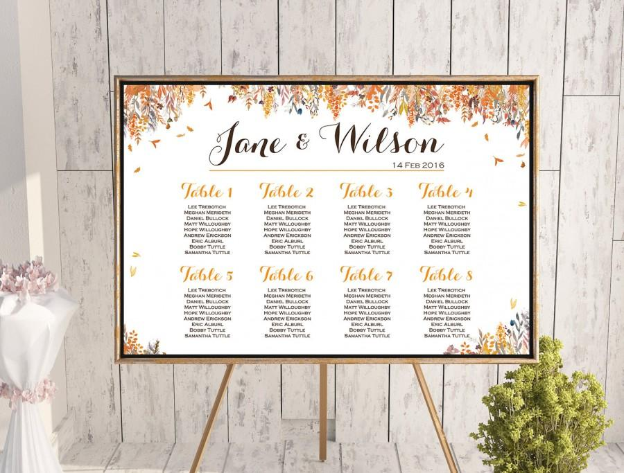 fall autumn wedding seating chart free wedding seating charts