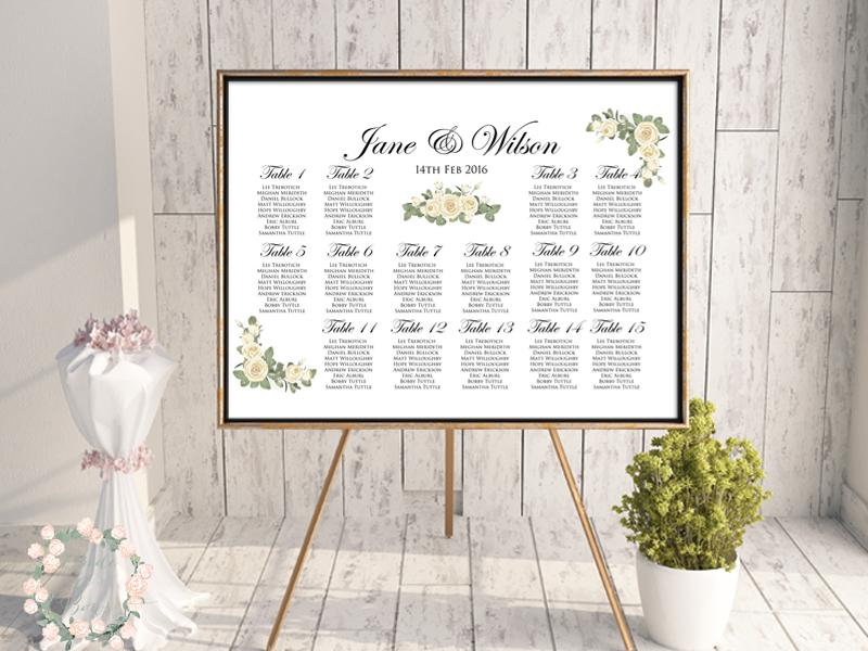 elegant ivory wedding seating chart free wedding seating charts