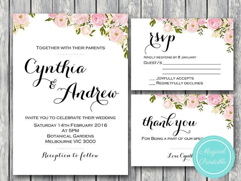 Peonies Elegant Wedding Invitation, RSVP, Engagement Party Invite ...