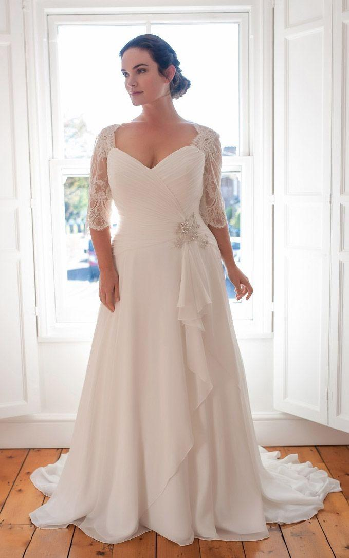 Mariage - A-Line Floor-Length V-Neck Half Sleeve Chiffon Sweep Train Lace Dress