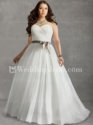 Mariage - Strapless Plus Size Bridal Gown With Sash PS114