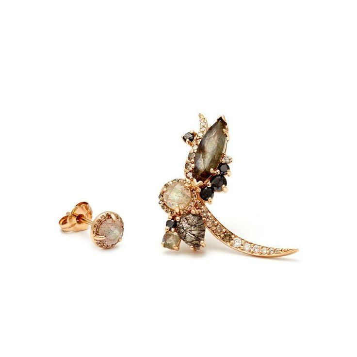 Mariage - Butterfly Earrings (Left Half Pair) - Yellow Gold & Labradorite