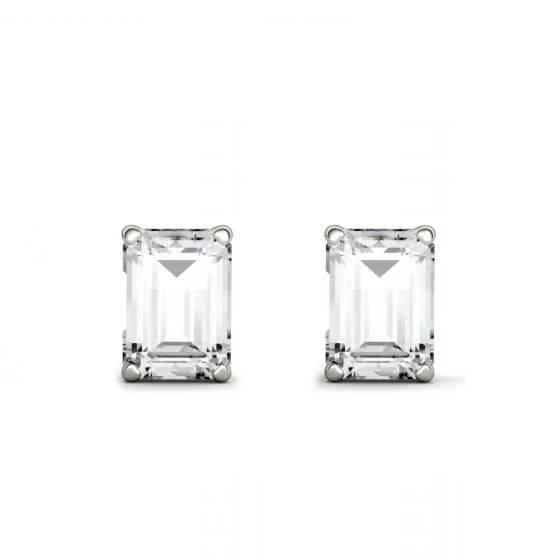 f6e7b1262 Emerald Forever One Moissanite Stud Earrings 14k White Gold 1.00 Carat  Each, Moissanite Earrings, 7x5mm Emerald Four Prong - $1725.00 USD