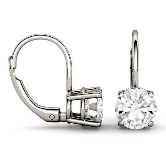 Wedding - Raven Fine Jewelers, 4.00 carats tw. Forever One Moissanite Lever Back Earrings 14k White Gold 2.00 Carat Each, Moissanite Earrings, 8mm Round Four Prong - $2375.00 USD
