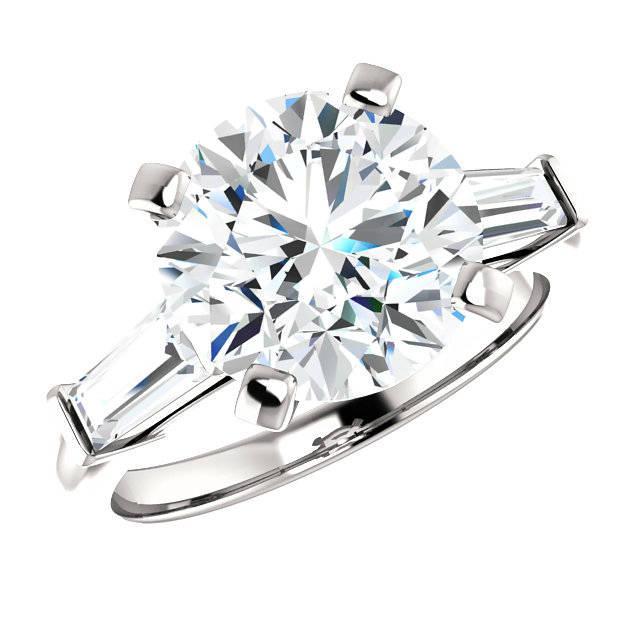 Wedding - 4 Carat Round Cut Harro Gem Moissanite & Tapered Baguette Diamond Engagement Ring, Moissanite Rings, Custom Jewelry, Handmade Rings - $4450.00 USD