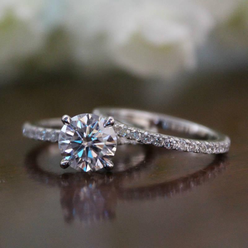 زفاف - 8.5mm Round Forever One Moissanite & Diamond Hidden Halo 14k Yellow/White Gold Engagement Ring Wedding Set Bridal Sets for Women Two Tone - $3740.00 USD