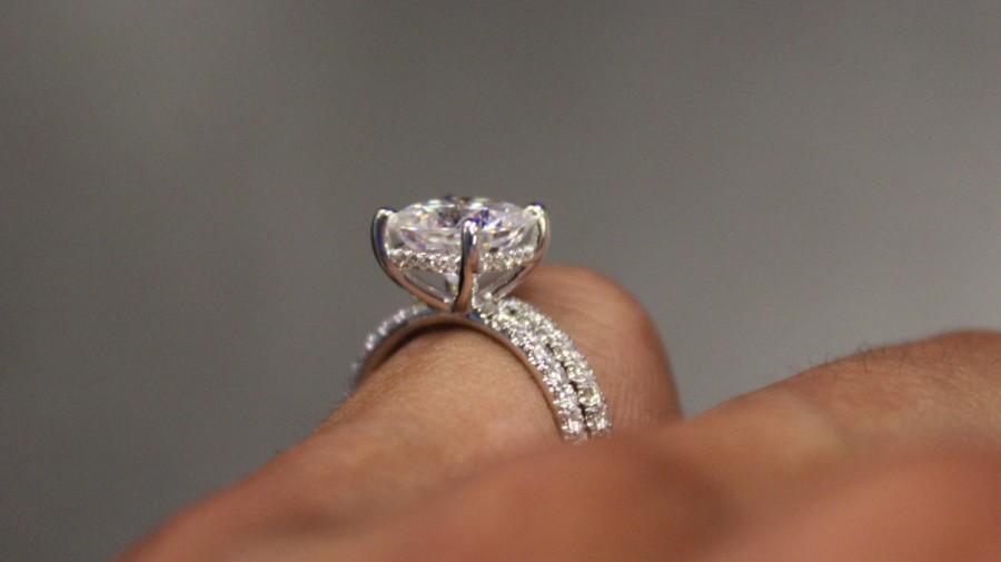 8mm Cushion Forever One Moissanite Diamond Hidden Halo Engagement