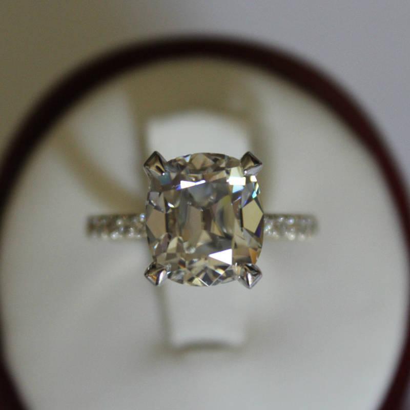 Raven Fine Jewelers 4 20 Carat Antique Cushion Moissanite Diamond