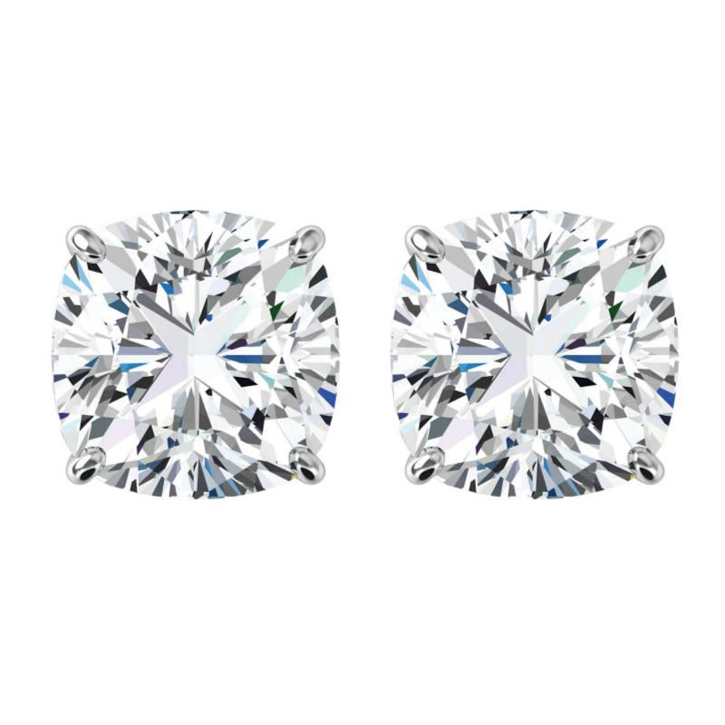 Mariage - 10 carats tw. Cushion Forever One Moissanite Stud Earrings 14k White Gold, 5.00 Carat Each, Moissanite Earrings 10mm, Anniversary Gifts - $6520.00 USD