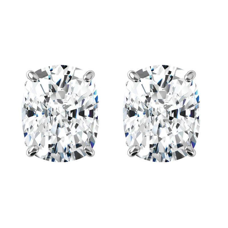 Elongated Cushion Harro Gem Moissanite Stud Earrings 14k White Gold 5 00 Carat Each 11x9mm Anniversary 6250 Usd