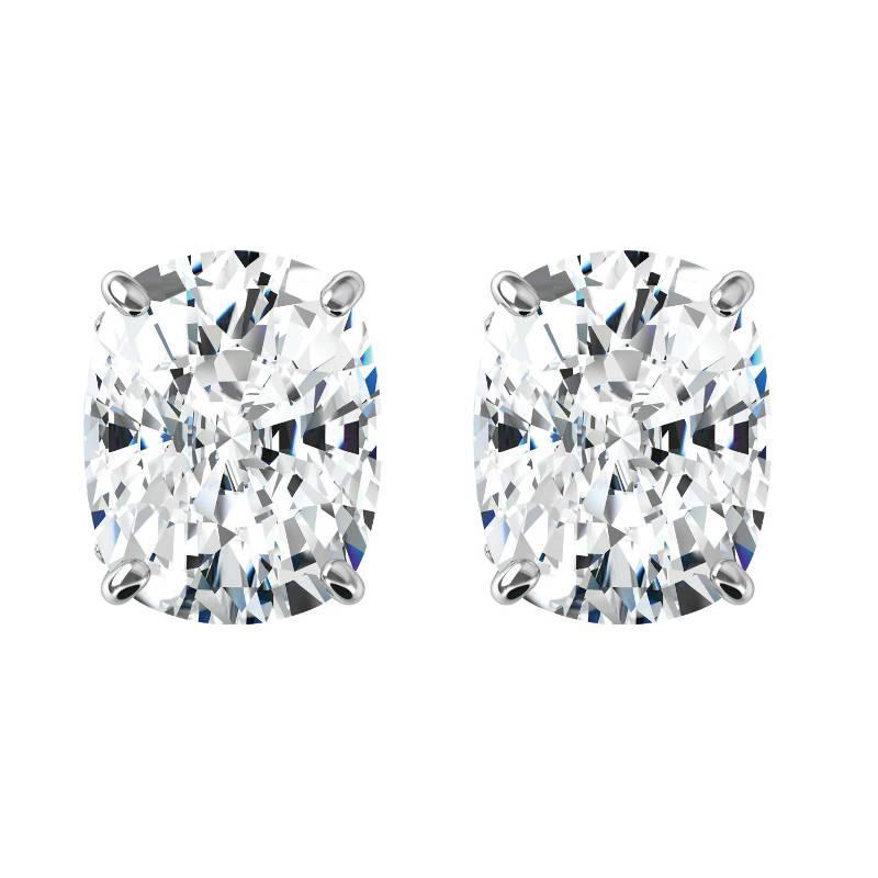 Wedding - Raven Fine Jewelers, 4.80 carats tw. Elongated Cushion Harro Gem Moissanite Stud Earrings 14k White Gold, 2.40 Carat Each, Moissanite Earrings 9x7mm, Anniversary - $2885.00 USD