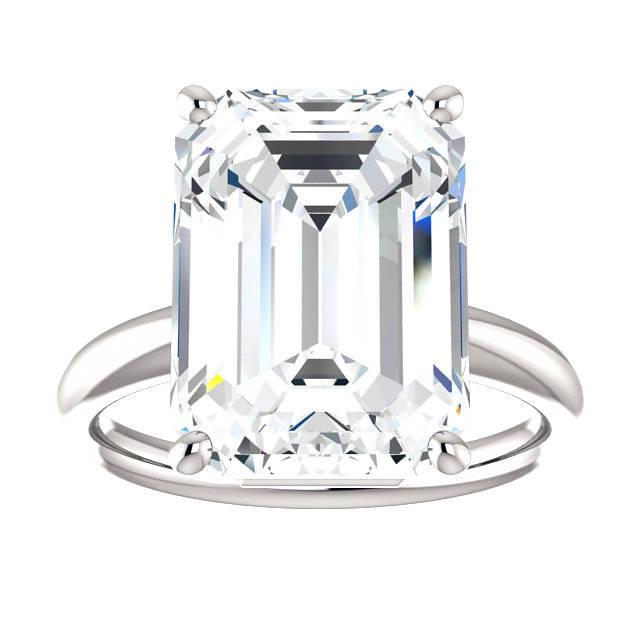 Wedding - 10 Carat Emerald Harro Moissanite Solitaire Engaegment Ring 18k or Platinum, Emerald Moissanite Rings, Diamond Alternative, Ethical Rings - $7145.00 USD