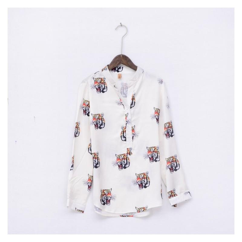 Hochzeit - Must-have Vogue Printed V-neck Long Sleeves Animals Top Blouse - beenono.com