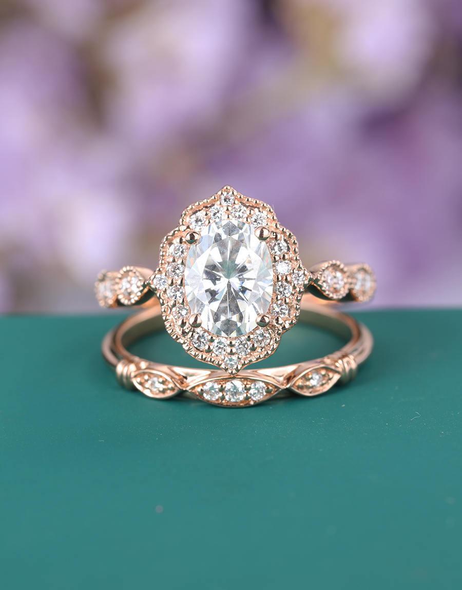 Wedding - Vintage engagement ring Rose gold Antique Art deco Moissanite Oval Milgrain set diamond Wedding Women bridal Half eternity Anniversary gift