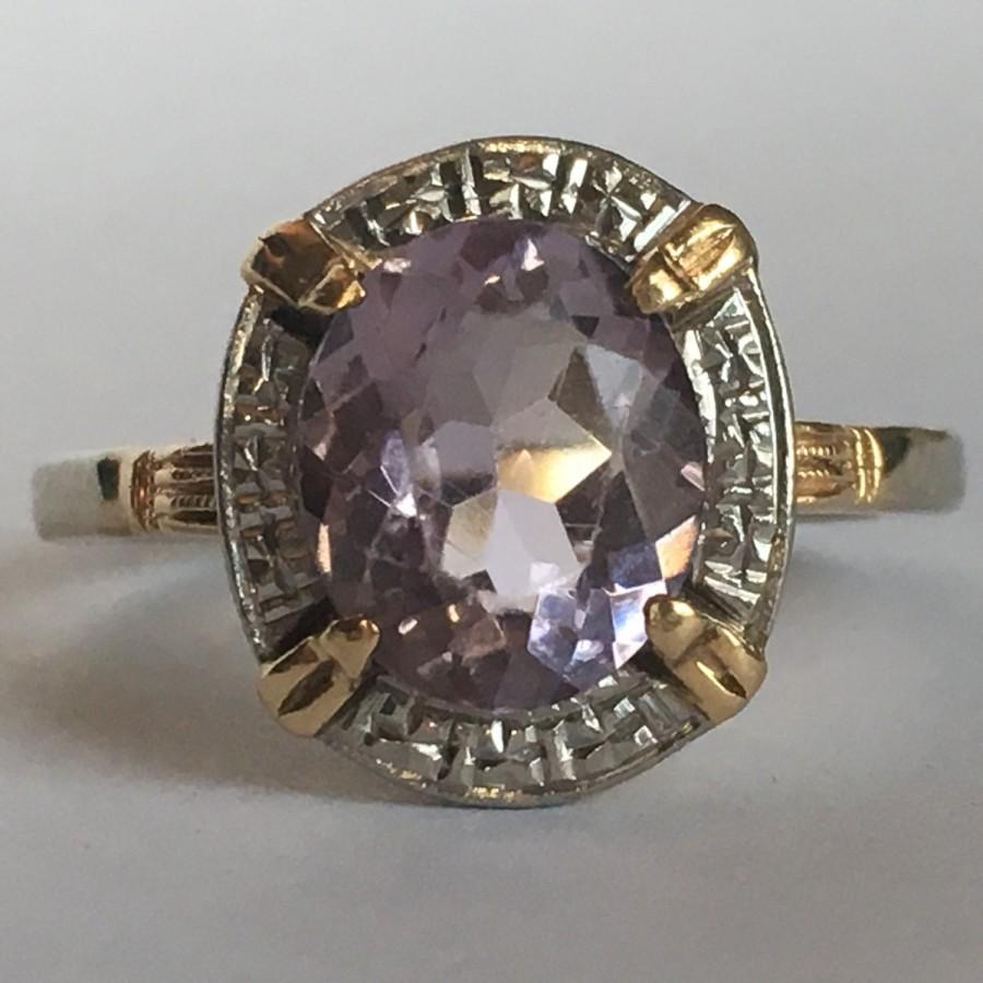 Mariage - Vintage Amethyst Ring. 14K Yellow and White Gold. 3 Carat Amethyst. Unique Engagement Ring. February Birthstone. 6th Anniversary Gift.