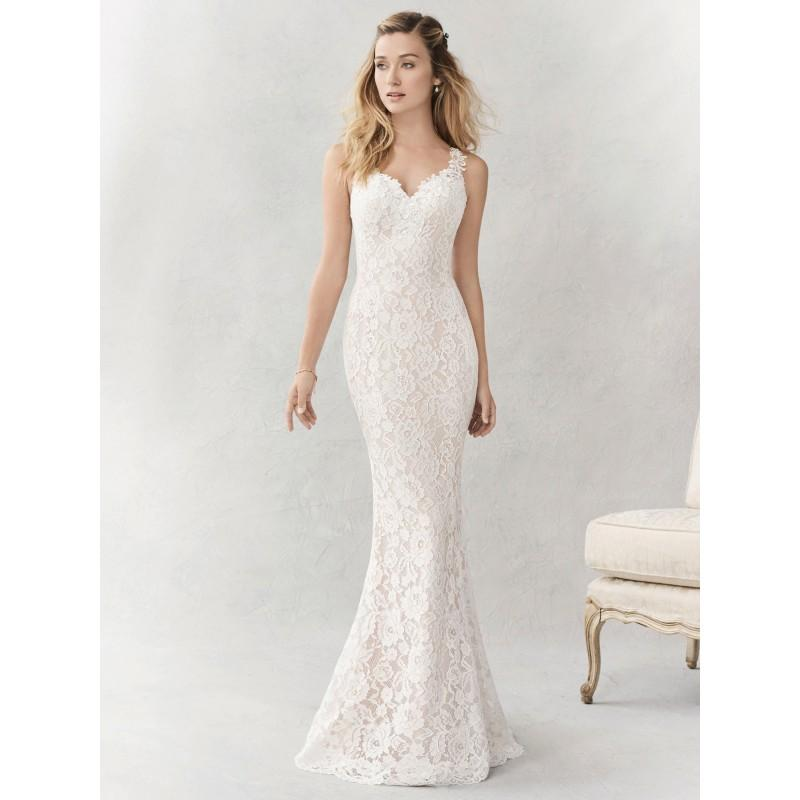 Wedding - Ella Rosa Spring/Summer 2017 BE356 Chapel Train Straps Sleeveless Sheath Sweet Ivory Appliques Lace Wedding Gown - Branded Bridal Gowns