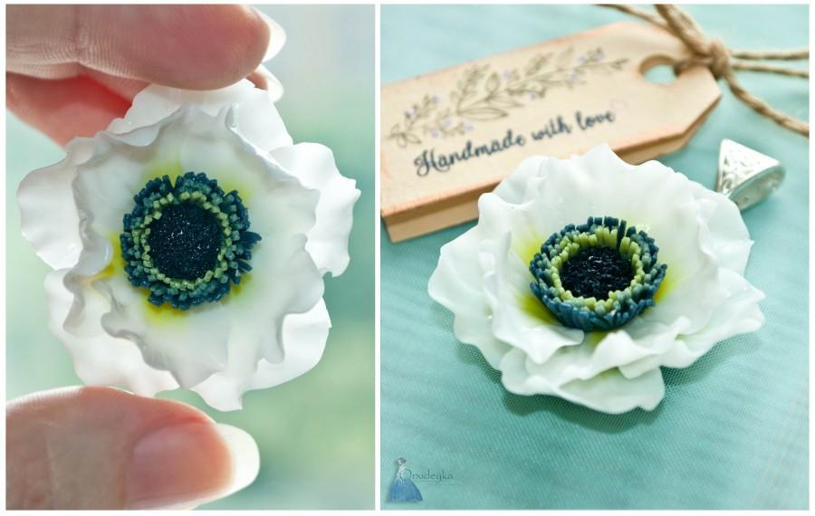 Custom Order Flower Pendant Anemona Flower White Poppy Flower ...