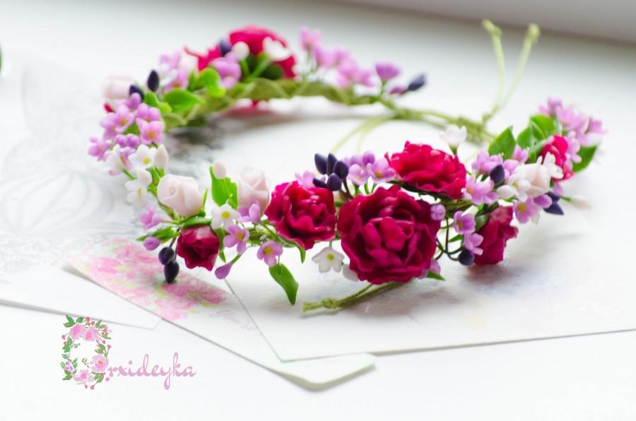 زفاف - Peony necklace Rose necklace Polymer clay necklace Flower necklace Purple flower necklace Purple lilac pink flowers clay Flower jewelry Gift - $128.00 USD