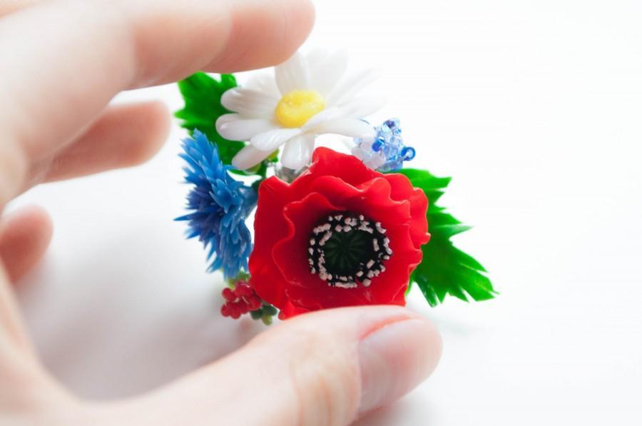 زفاف - Gift for her Ring Flower Poppy ring Daisy ring Bridesmaid gift Flower jewelry Polymer clay ring Blue cornflower Rustic jewelry gift Wedding - $25.00 USD