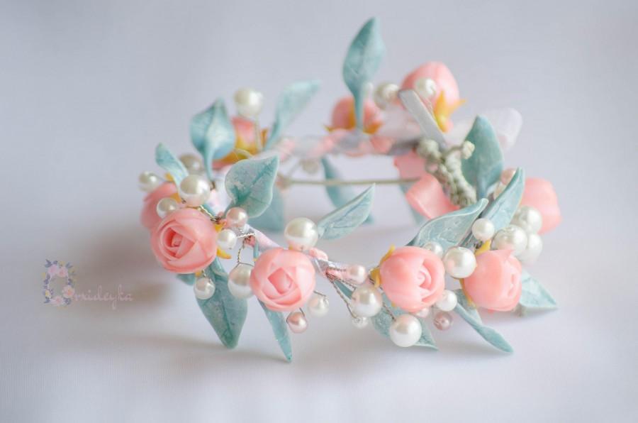 زفاف - Gift for her Rose bracelet Flower bracelet Jewelry handmade Pastel bracelet Bridal Polymer clay roses Pink roses bracelet Pearl bracelet - $54.00 USD