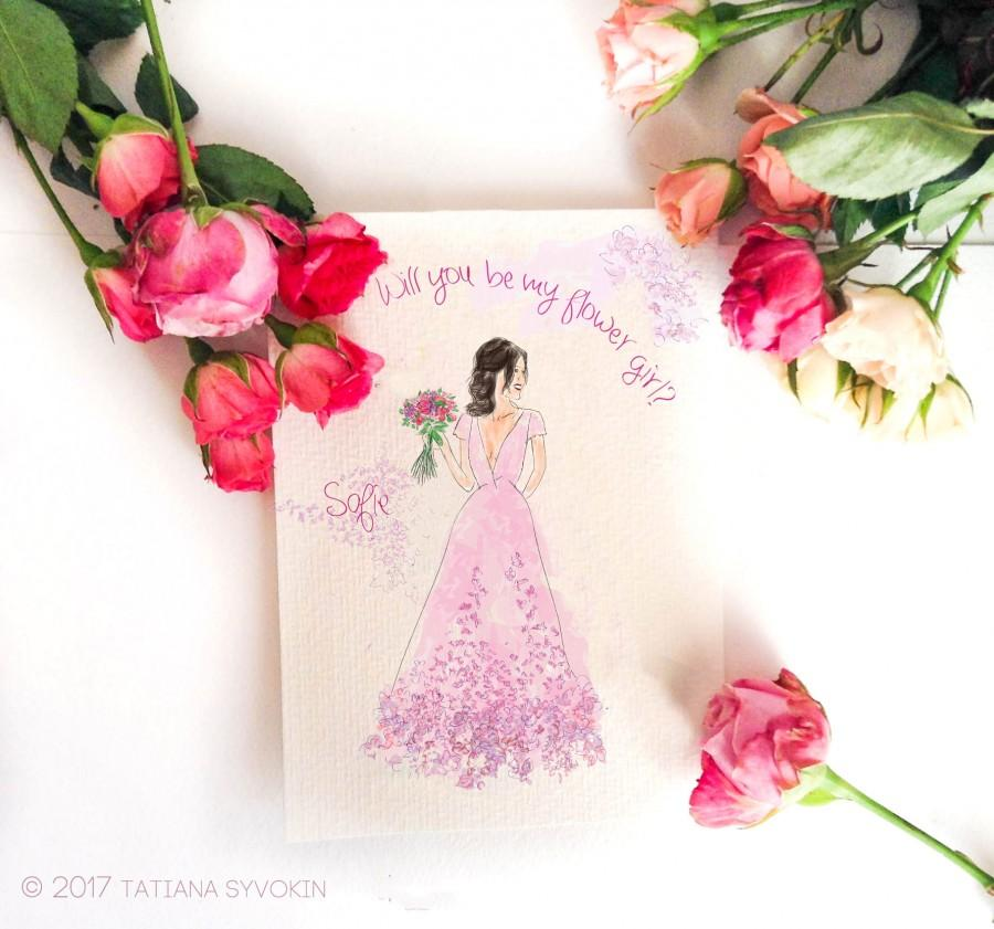 Will You Be My Flower Girl Card Painted Card Pink Floral Card Purple