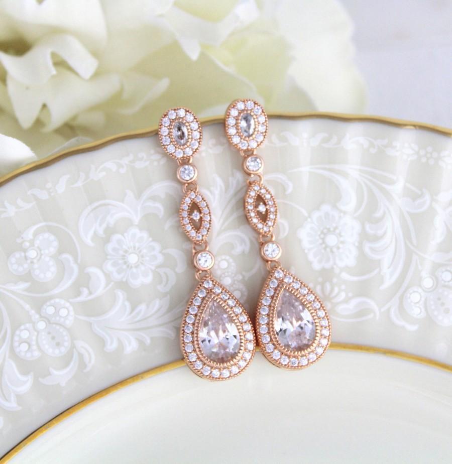 Hochzeit - Rose Gold earrings, Bridal earrings, Bridal jewelry, Long earrings, Teardrop Wedding earrings, Bridesmaid earrings, Crystal Dangle earrings