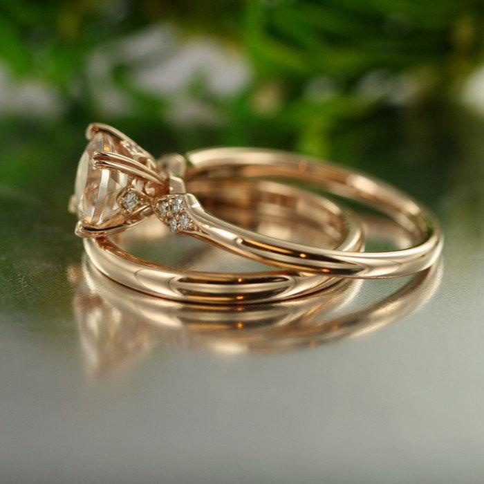 Hochzeit - Unity-VS Diamond 7mm Round Morganite Set in 14k Rose Gold Engagement Ring and Wedding Band Ring Handmade Bridal Set