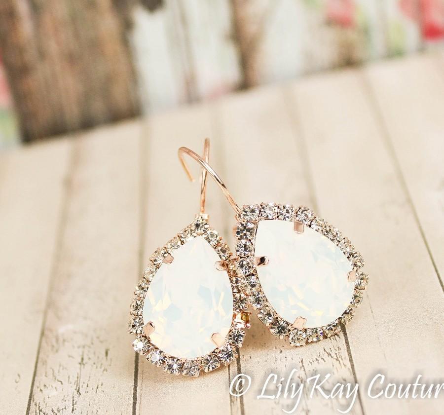 Hochzeit - Opal Earrings Rose Gold Earring Blush Earrings Opal Bridesmaid Jewelry Rose Gold Opal Earring October Birthstone Moonstone Milky White Pearl