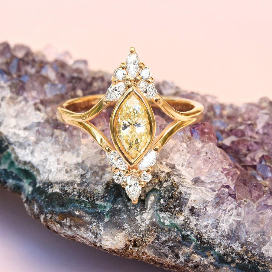 Wedding - Unique Engagement Marquise Diamond Ring - Vintage, Art Deco , Cluster Diamond Ring, 14K Yellow Gold, Ring Size 7 - $2365.00 USD