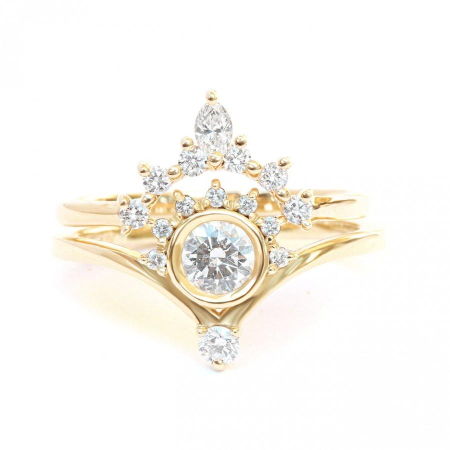 """Wedding - Natural Diamond Engagement Rings Set, Diamond """"Bliss"""" Ring with Matching Side Marquise Diamond Band, Unique Desiner Rings Diamond Solid Gold - $1740.00 USD"""