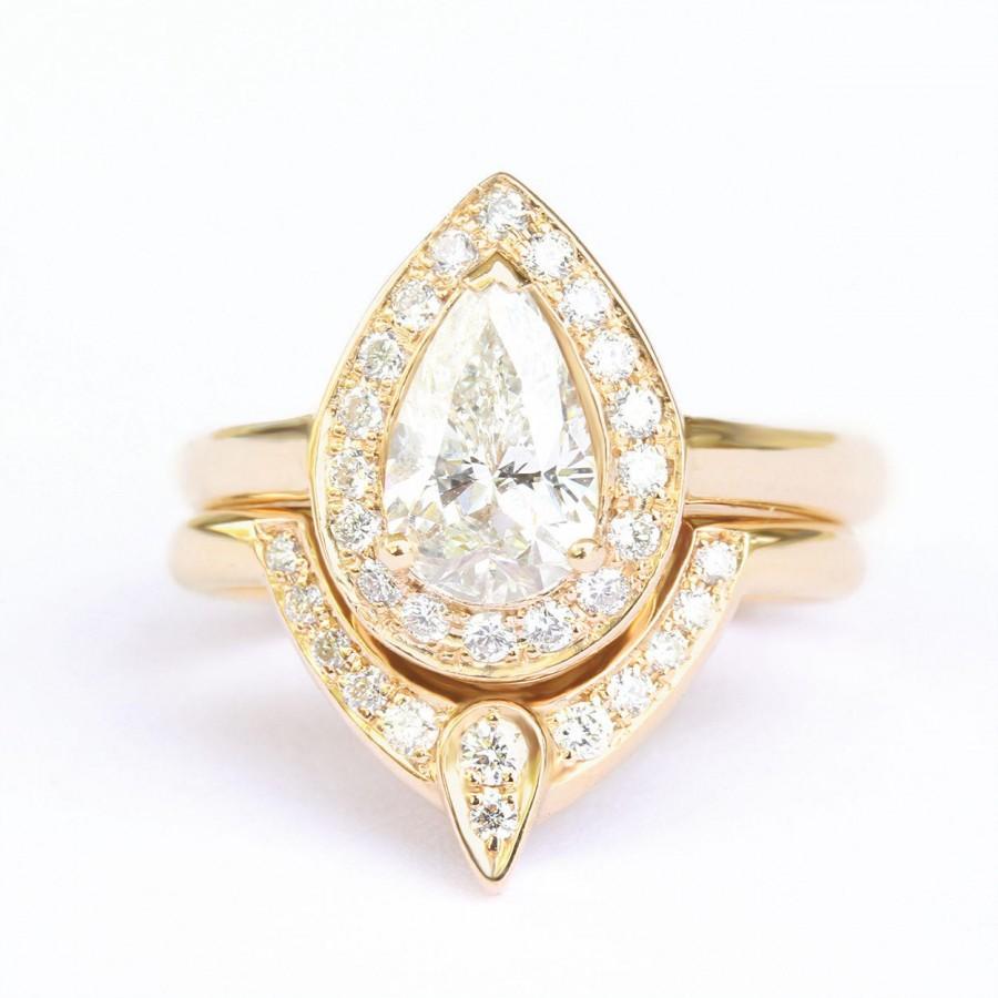 Wedding - 3rd Eye Ring Bridal Set, Third Eye Pear Engagement Ring Matching Side Ring, Natural Diamond Pear Halo Ring, Diamond 3rd Eye - $3490.00 USD