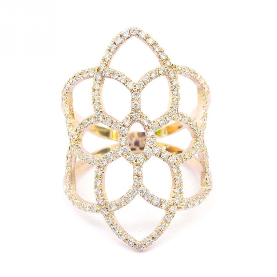 Wedding - Dream Catcher Diamond Ring, Diamond Pave Lace Ring, Wide Diamond Fantasy Ring, Right Hand Ring, Pave Ring 14K/18K Rose/Yellow/White Gold - $1560.00 USD