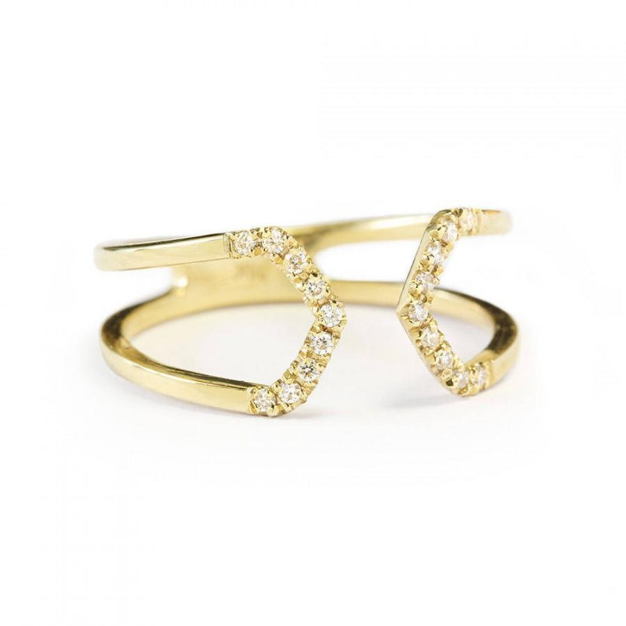 Wedding - Open Taper gold and diamond unique wedding ring - Cuff Ring 18K Yellow Gold - $470.00 USD