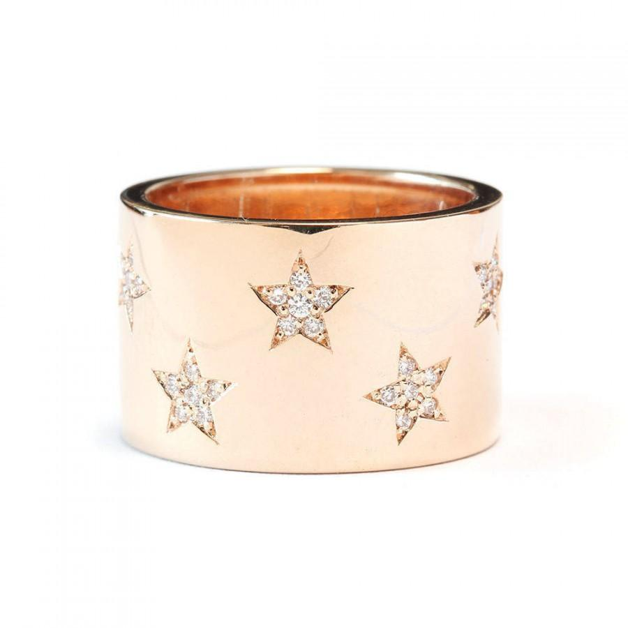Wedding - Star Diamond Ring, 14K Gold Band Ring Size 7, 0.25 Ct Diamond Ring, Diamond Band Ring, Women Jewelry Gift - $1280.00 USD